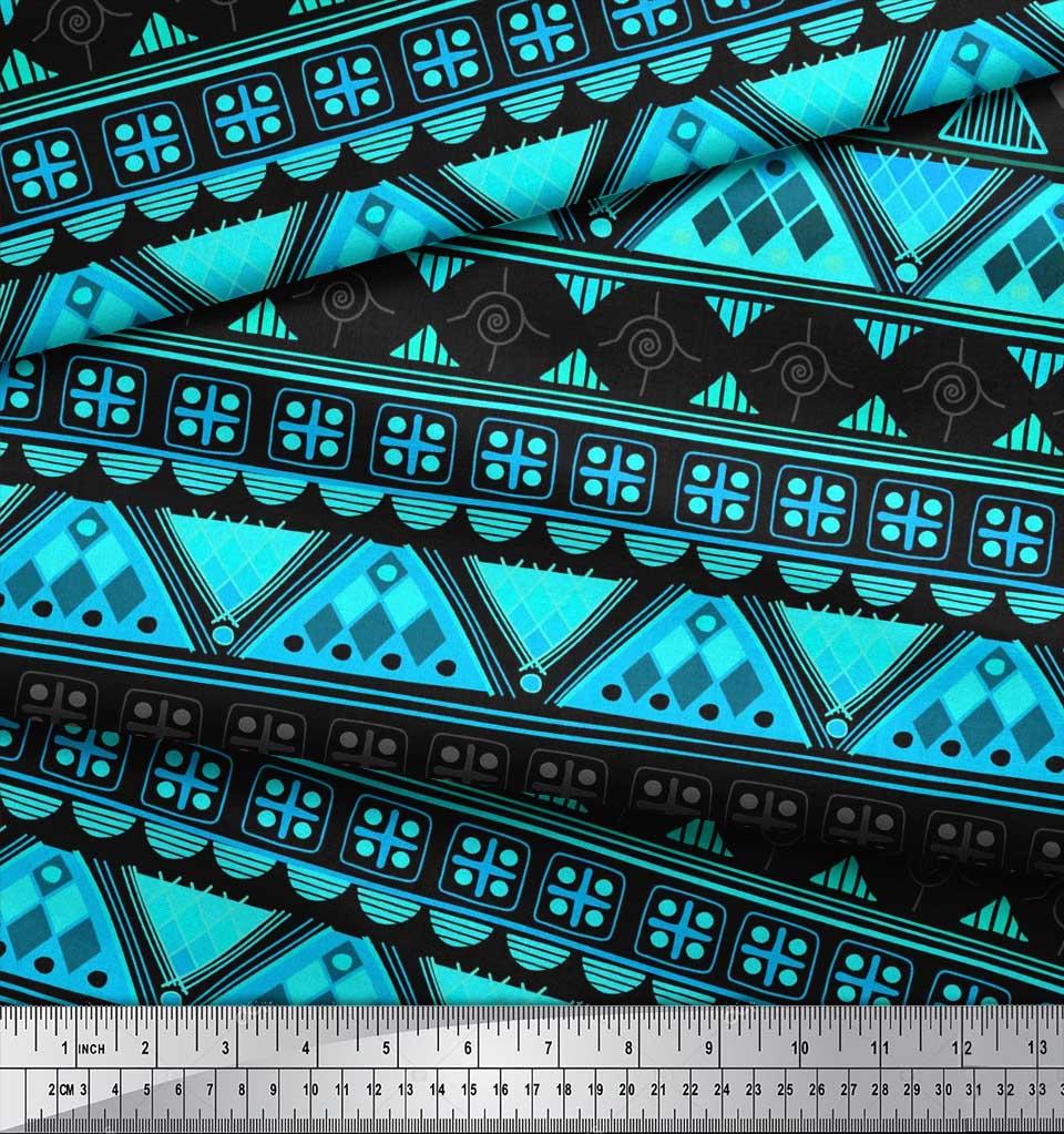 Soimoi-Green-Cotton-Poplin-Fabric-Aztec-Geometric-Printed-Fabric-9Ft thumbnail 4