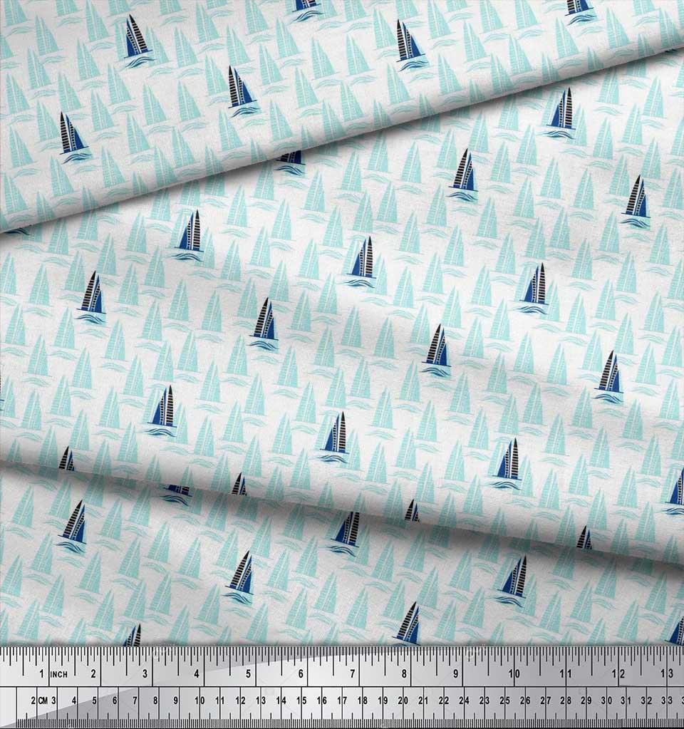 Soimoi-Green-Cotton-Poplin-Fabric-Yacht-amp-Waves-Nautical-Fabric-Xim thumbnail 4