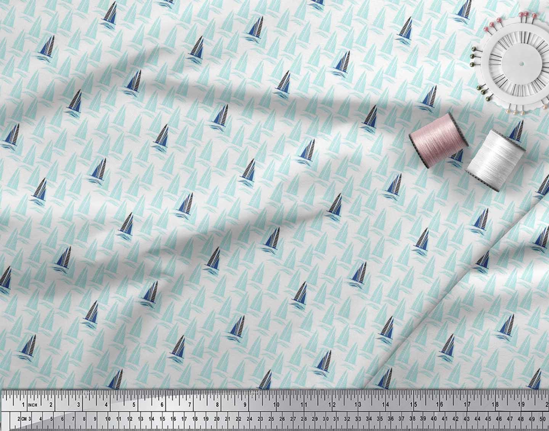 Soimoi-Green-Cotton-Poplin-Fabric-Yacht-amp-Waves-Nautical-Fabric-Xim thumbnail 3
