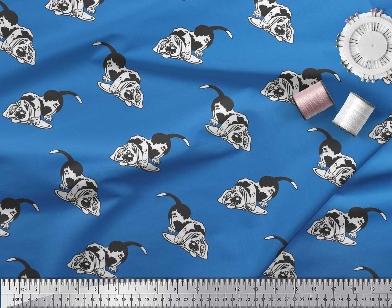 Soimoi-Blue-Cotton-Poplin-Fabric-Basset-Hound-Dog-Fabric-Prints-73F thumbnail 3