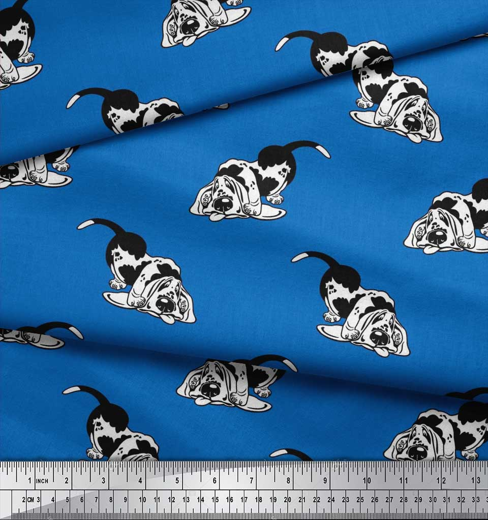 Soimoi-Blue-Cotton-Poplin-Fabric-Basset-Hound-Dog-Fabric-Prints-73F thumbnail 4