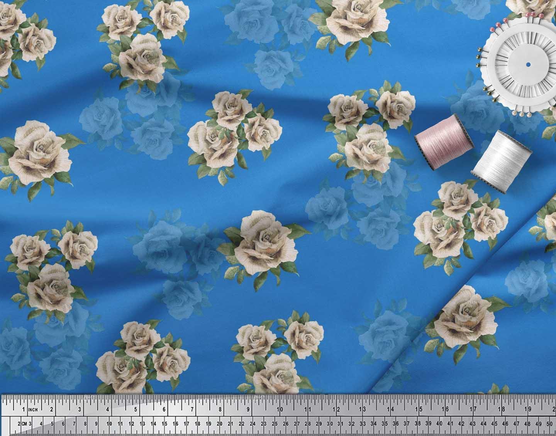 Soimoi-Cotton-Poplin-Fabric-Leaves-amp-Alba-Rose-Floral-Print-Fabric-lbT thumbnail 4