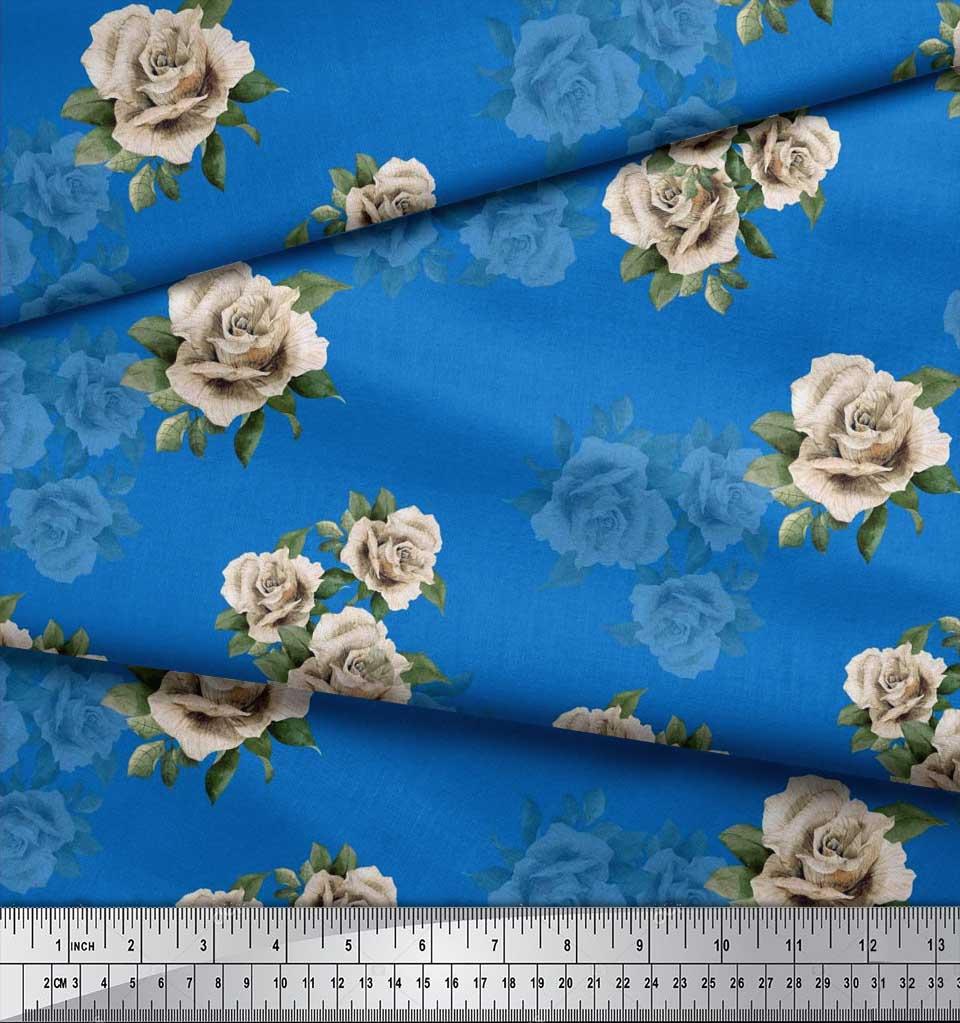 Soimoi-Cotton-Poplin-Fabric-Leaves-amp-Alba-Rose-Floral-Print-Fabric-lbT thumbnail 3