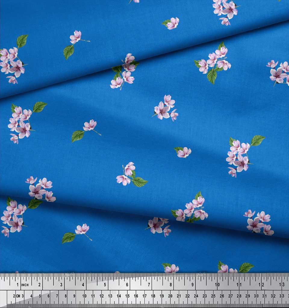 Soimoi-Cotton-Poplin-Fabric-Leaves-amp-Azalia-Floral-Printed-Craft-Xvh thumbnail 3
