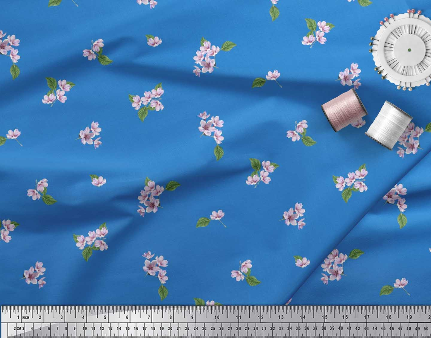 Soimoi-Cotton-Poplin-Fabric-Leaves-amp-Azalia-Floral-Printed-Craft-Xvh thumbnail 4