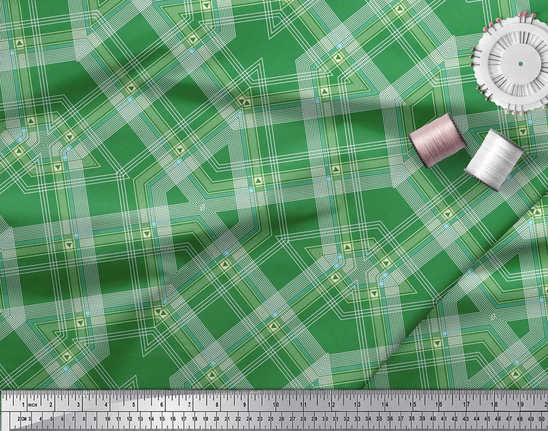 Soimoi-Cotton-Poplin-Fabric-Gingham-Check-Print-Fabric-by-the-metre-AdJ thumbnail 3