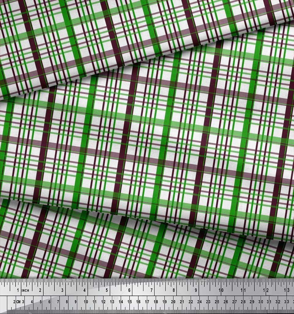 Soimoi-Green-Cotton-Poplin-Fabric-Plaid-Check-Printed-Craft-Fabric-ae3 thumbnail 3