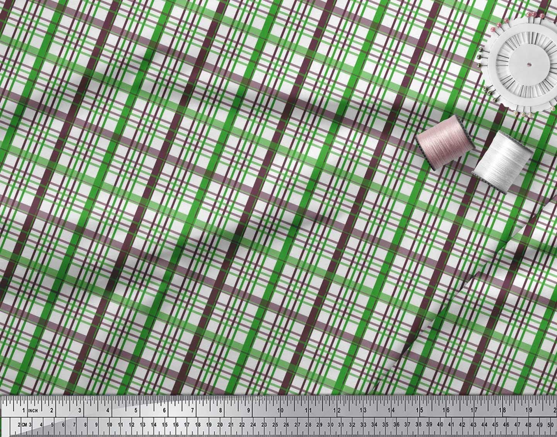 Soimoi-Green-Cotton-Poplin-Fabric-Plaid-Check-Printed-Craft-Fabric-ae3 thumbnail 4