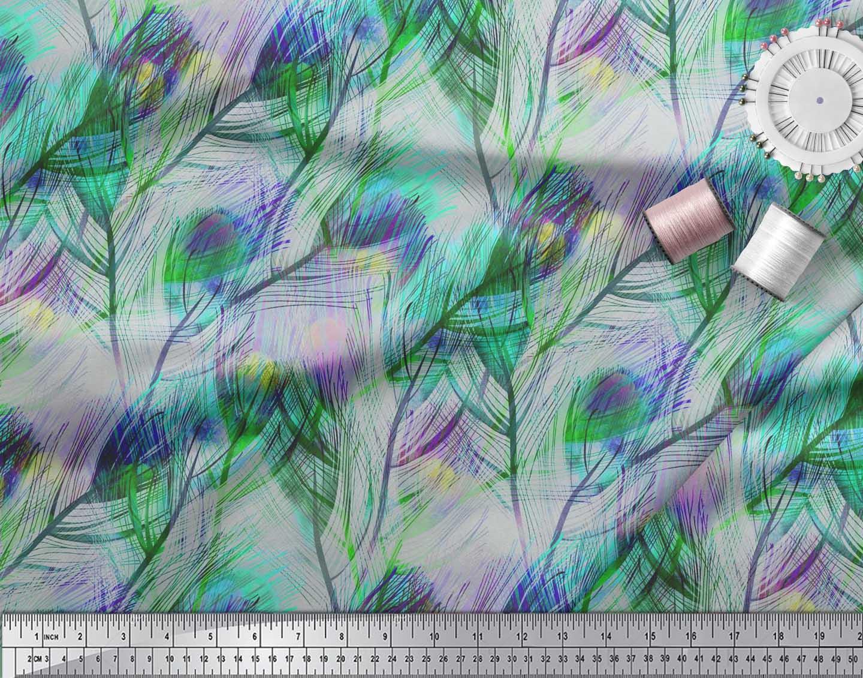 Soimoi-Cotton-Poplin-Fabric-Peacock-Feather-Printed-Fabric-1-metre-xvA thumbnail 4