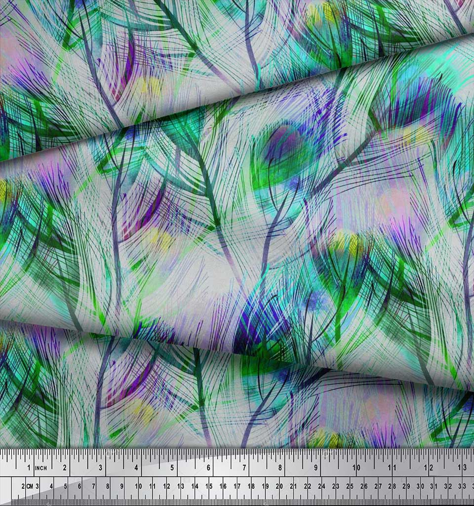 Soimoi-Cotton-Poplin-Fabric-Peacock-Feather-Printed-Fabric-1-metre-xvA thumbnail 3