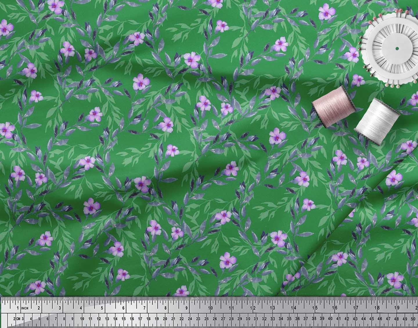 Soimoi-Cotton-Poplin-Fabric-Leaves-amp-Periwinkle-Floral-Printed-Craft-cnk thumbnail 4