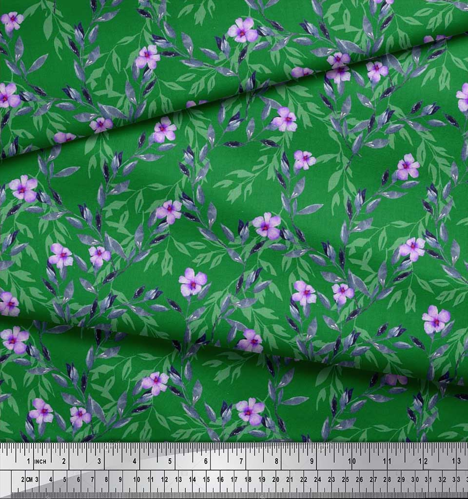 Soimoi-Cotton-Poplin-Fabric-Leaves-amp-Periwinkle-Floral-Printed-Craft-cnk thumbnail 3