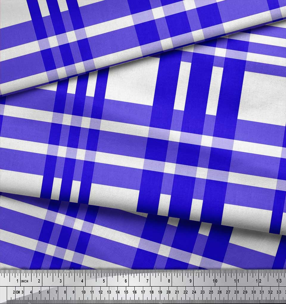 Soimoi-Blue-Cotton-Poplin-Fabric-Plaid-Check-Print-Sewing-Fabric-Ww2 thumbnail 3