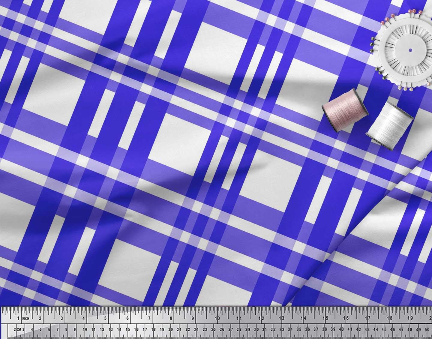 Soimoi-Blue-Cotton-Poplin-Fabric-Plaid-Check-Print-Sewing-Fabric-Ww2 thumbnail 4