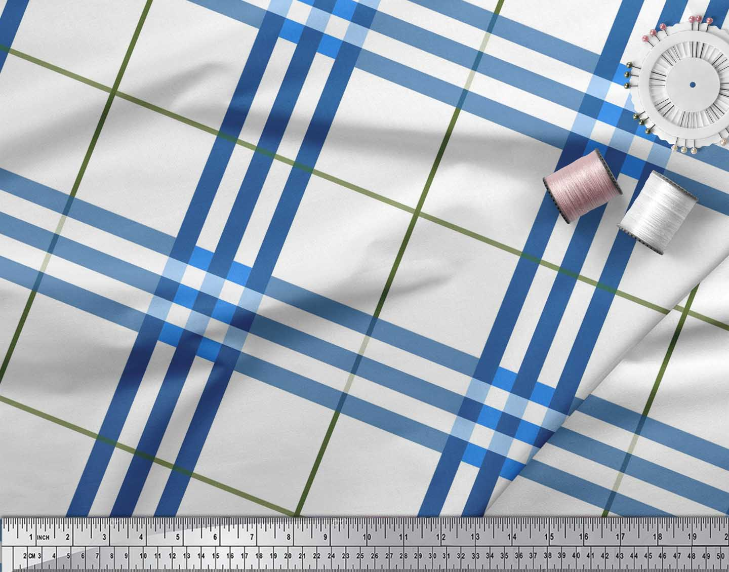 Soimoi-Blue-Cotton-Poplin-Fabric-Gingham-Check-Print-Fabric-by-the-A9S thumbnail 3