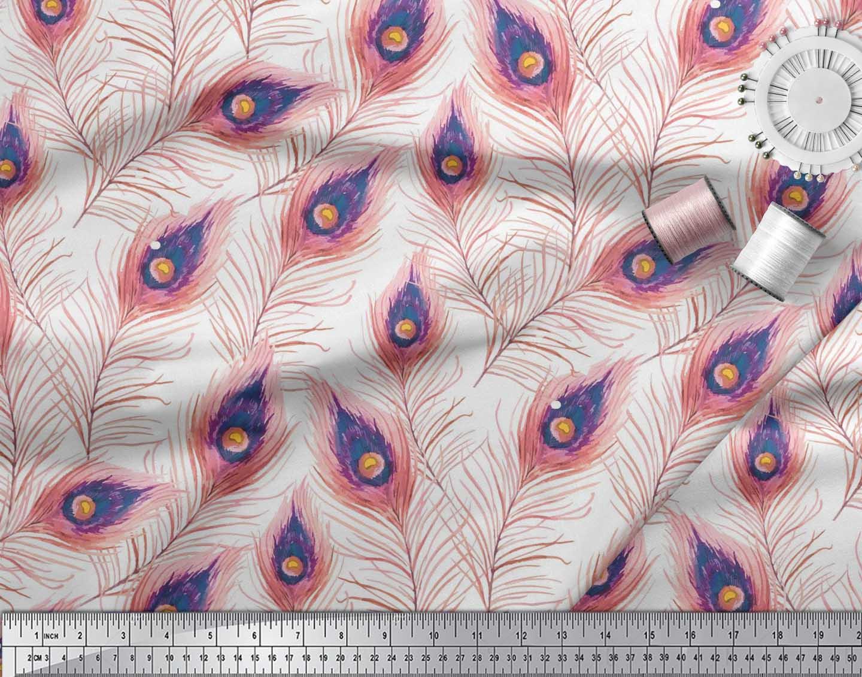 Soimoi-Cotton-Poplin-Fabric-Peacock-Feather-Print-Fabric-by-the-UvL thumbnail 3