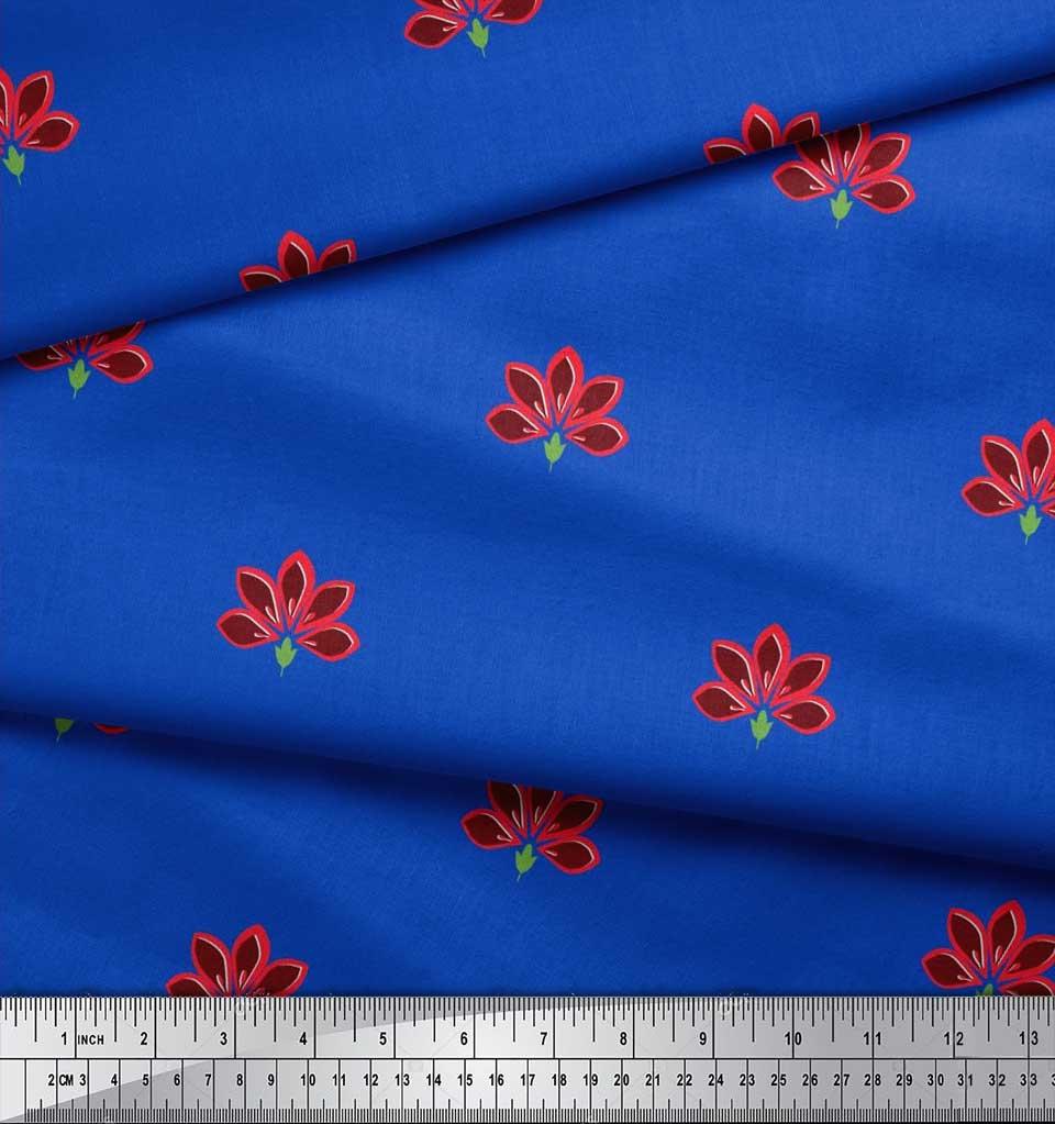 Soimoi-Blue-Cotton-Poplin-Fabric-Artistic-Floral-Print-Fabric-by-w7B thumbnail 3