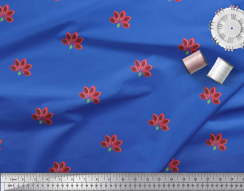 Soimoi-Blue-Cotton-Poplin-Fabric-Artistic-Floral-Print-Fabric-by-w7B thumbnail 4