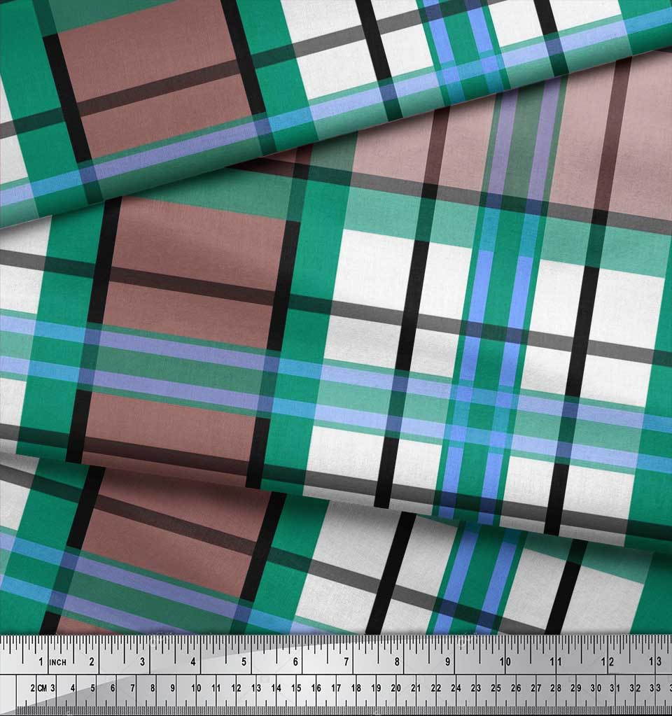 Soimoi-Green-Cotton-Poplin-Fabric-Gingham-Check-Print-Fabric-by-q5u thumbnail 4