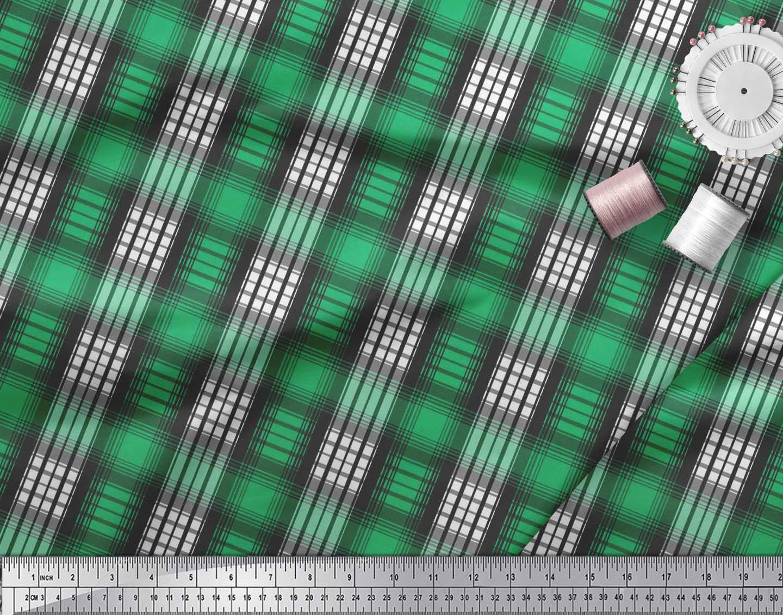 Soimoi-Green-Cotton-Poplin-Fabric-Plaid-Check-Print-Fabric-by-metre-5SQ thumbnail 4