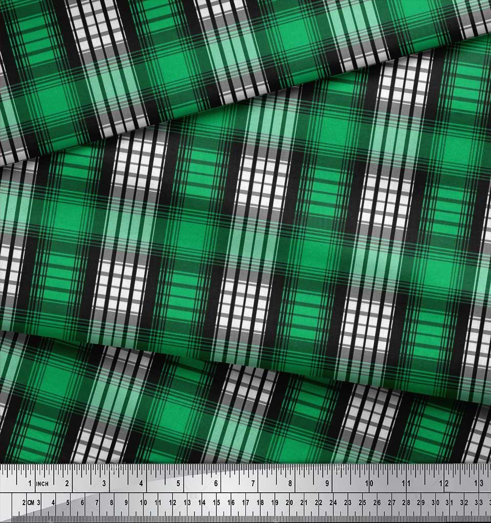 Soimoi-Green-Cotton-Poplin-Fabric-Plaid-Check-Print-Fabric-by-metre-5SQ thumbnail 3