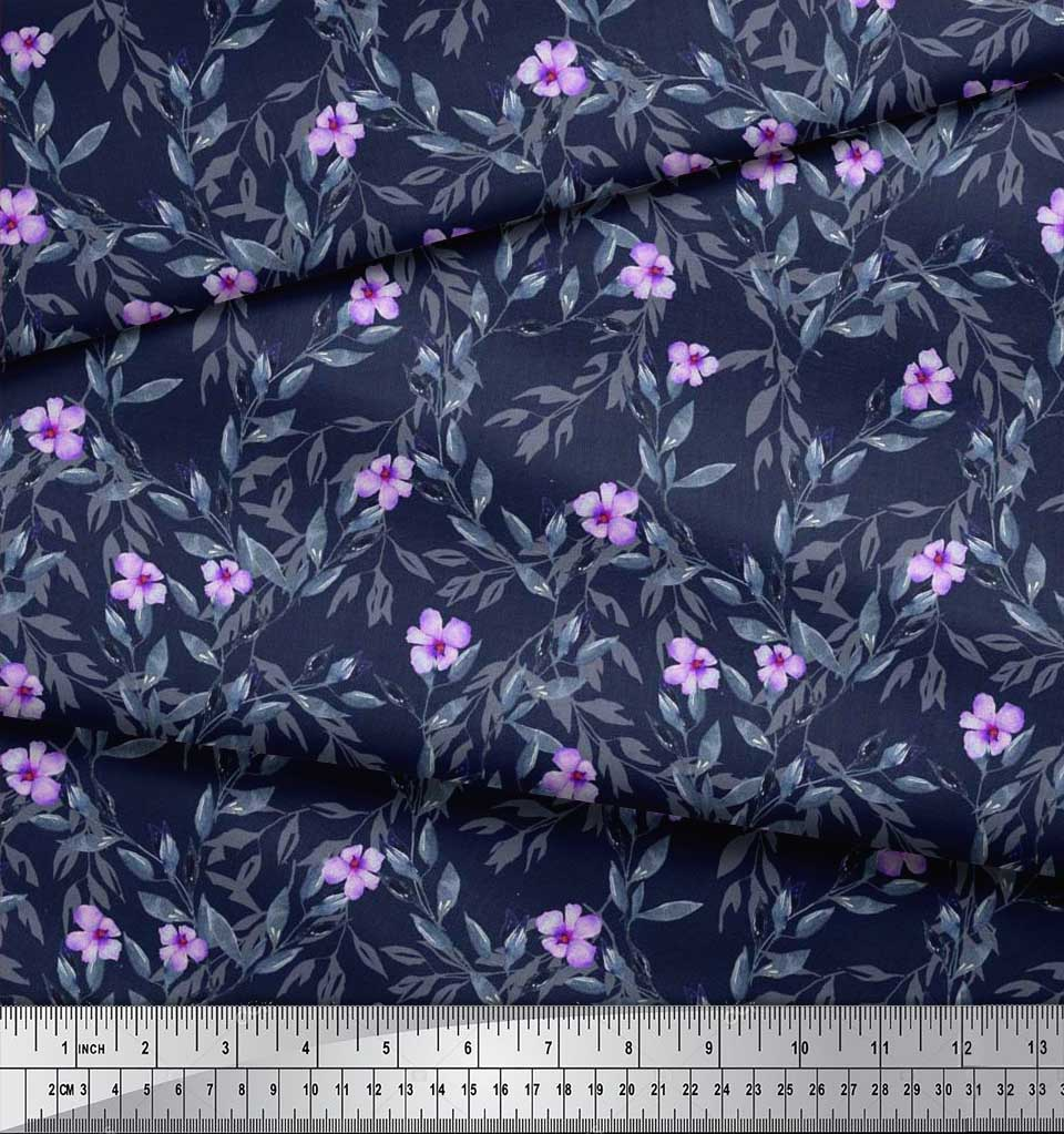 Soimoi-Cotton-Poplin-Fabric-Leaves-amp-Periwinkle-Floral-Print-Fabric-gl1 thumbnail 4