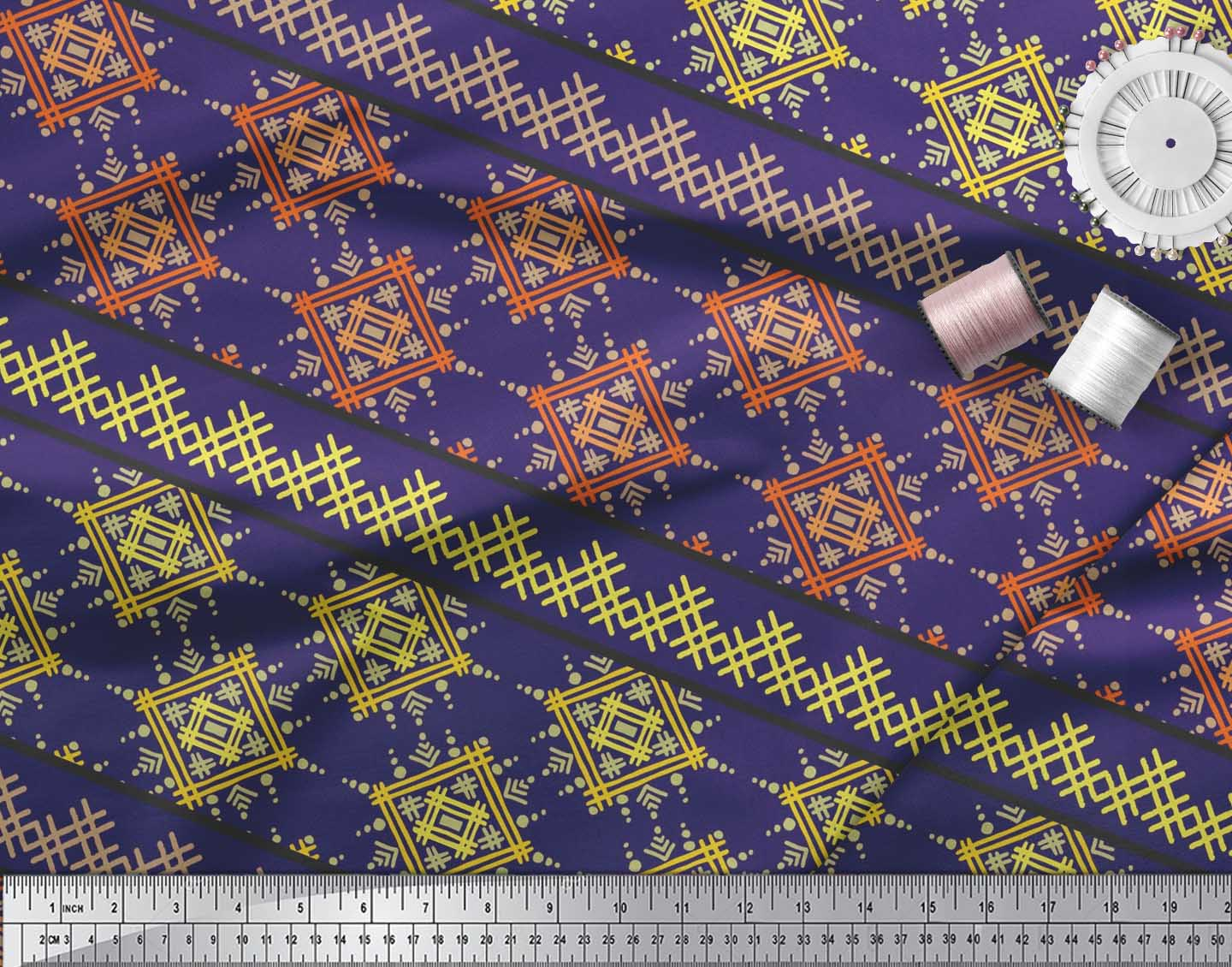 Soimoi-Cotton-Poplin-Fabric-Artistic-Geometric-Print-Fabric-by-the-ZU5 thumbnail 3