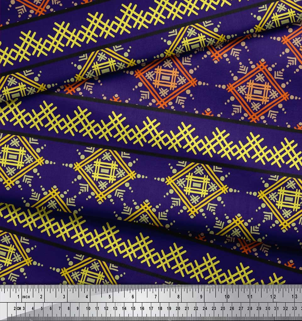 Soimoi-Cotton-Poplin-Fabric-Artistic-Geometric-Print-Fabric-by-the-ZU5 thumbnail 4