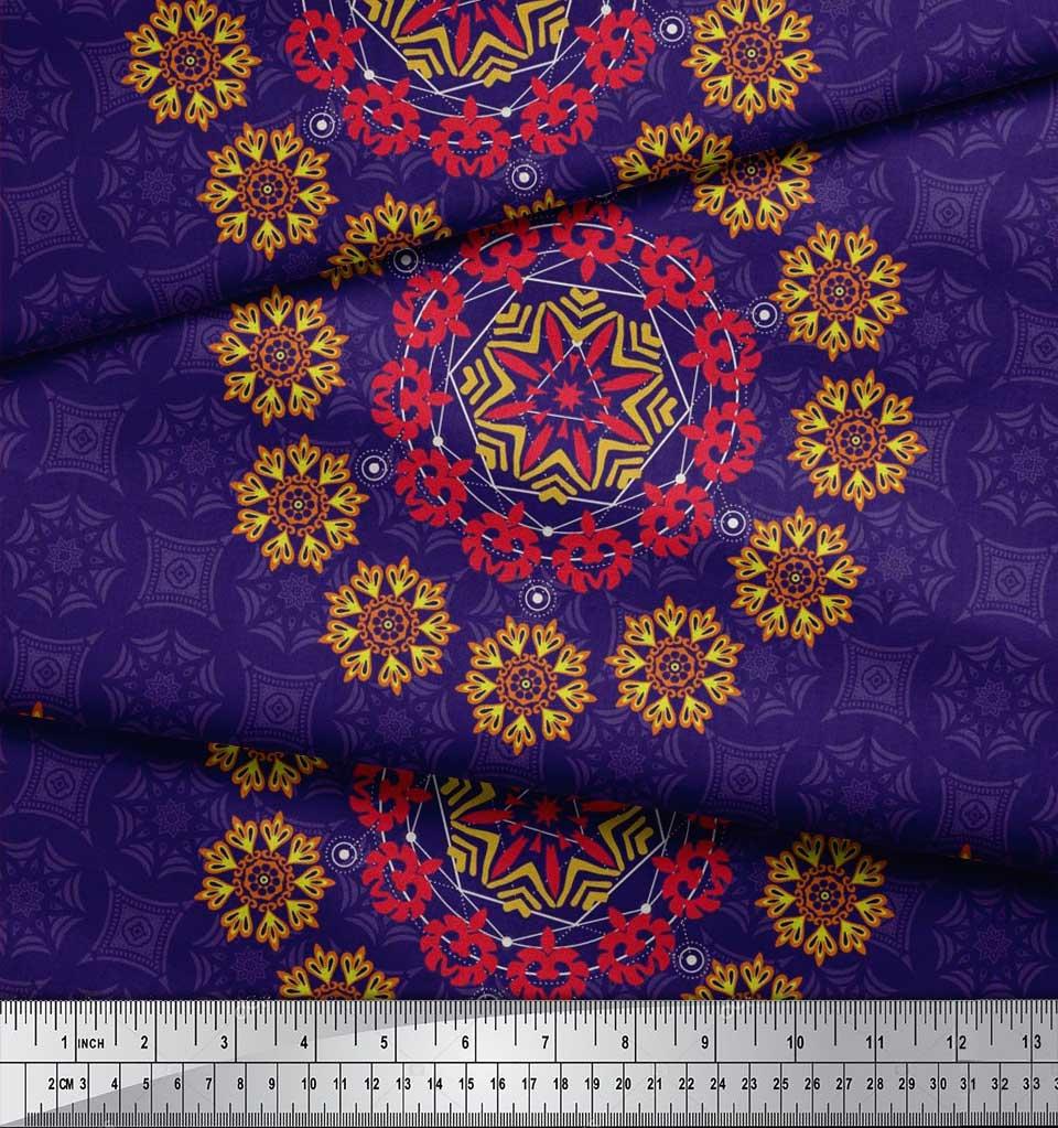 Soimoi-Fabric-Damask-amp-Mandala-Decorative-Print-Sewing-Fabric-BTY-DC-510E thumbnail 7