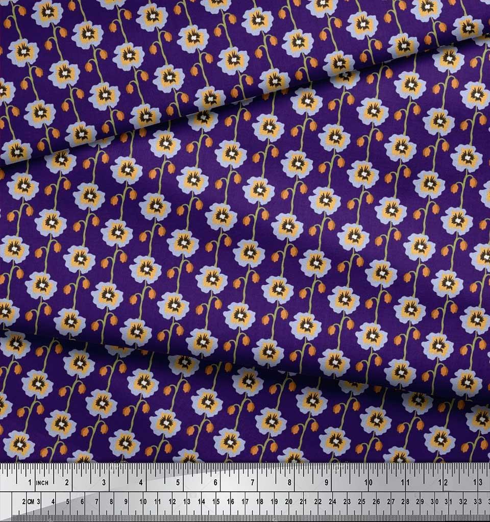 Soimoi-Cotton-Poplin-Fabric-Artistic-Floral-Printed-Fabric-1-metre-vka thumbnail 4