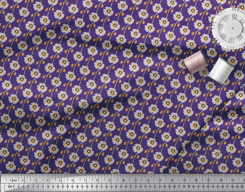 Soimoi-Cotton-Poplin-Fabric-Artistic-Floral-Printed-Fabric-1-metre-vka thumbnail 3