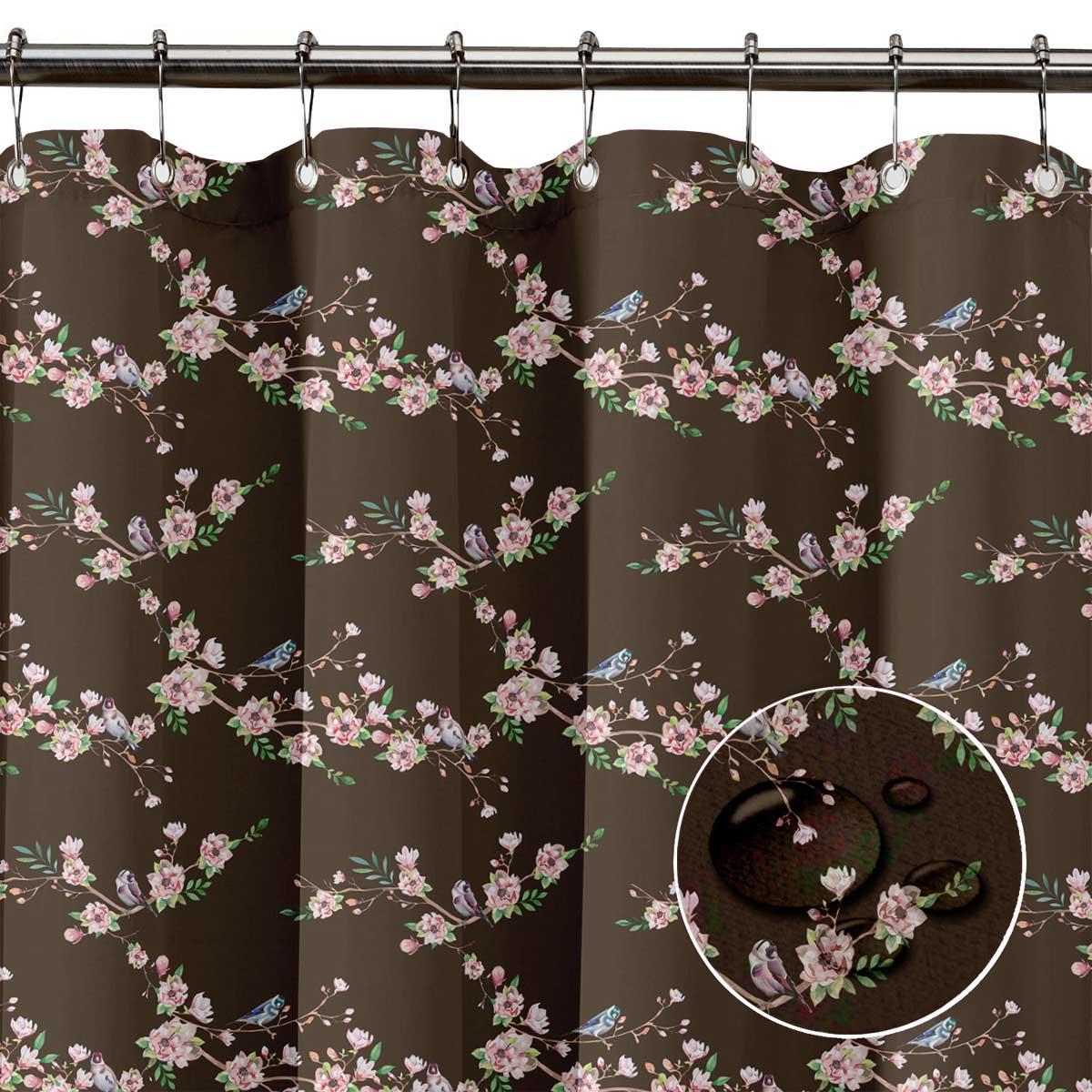 miniature 13 - S4Sassy Noir fleur et chardonneret oiseau rideaux de douche imprim?s-JpP