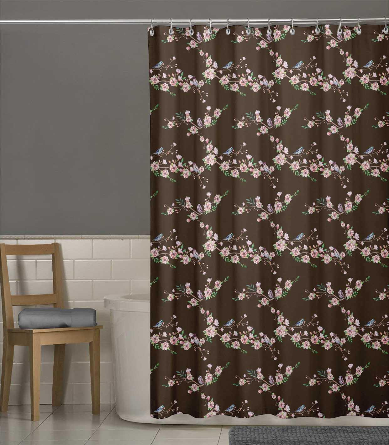 miniature 9 - S4Sassy Noir fleur et chardonneret oiseau rideaux de douche imprim?s-JpP