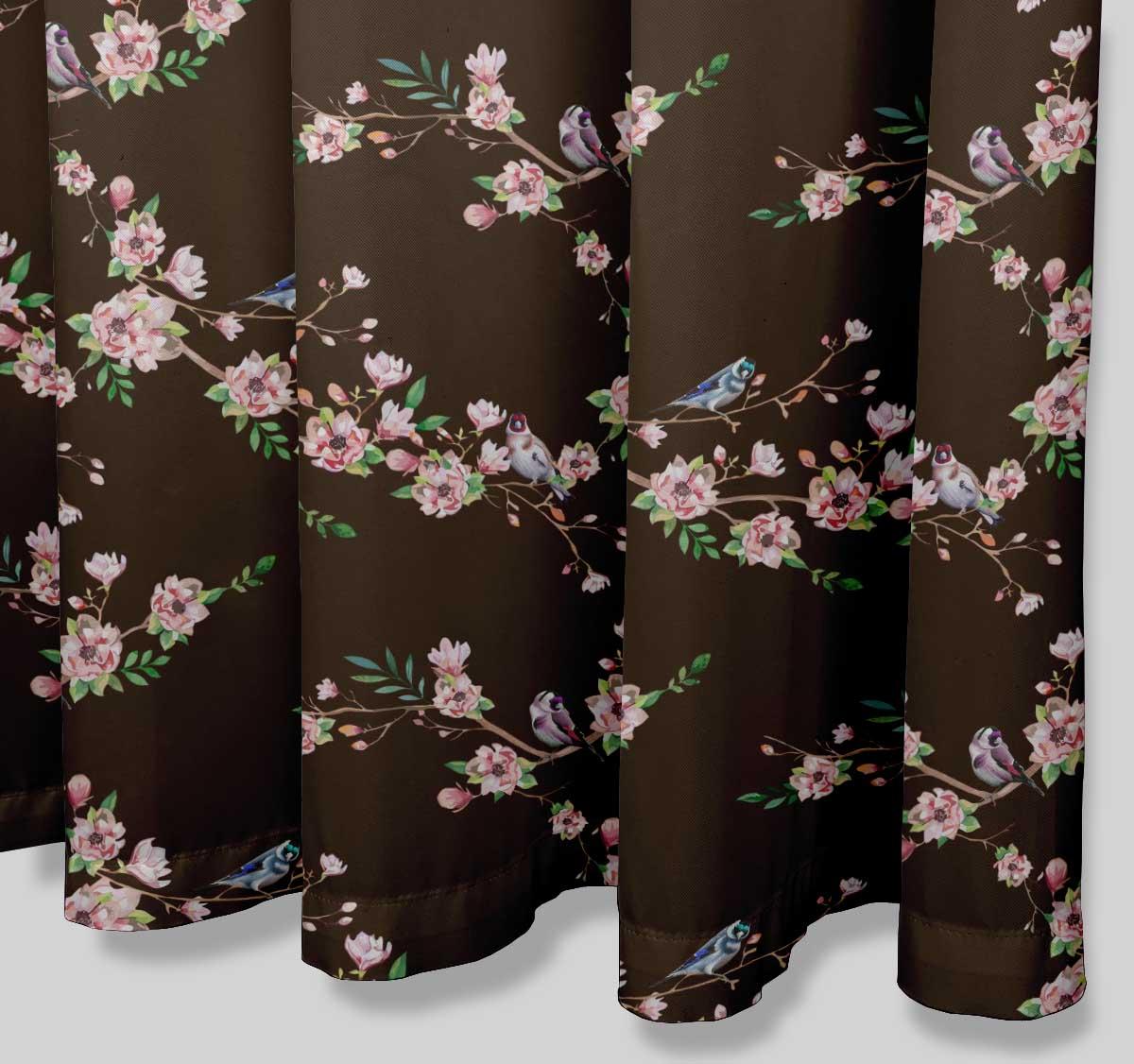 miniature 10 - S4Sassy Noir fleur et chardonneret oiseau rideaux de douche imprim?s-JpP