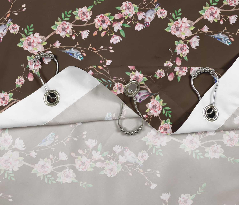 miniature 12 - S4Sassy Noir fleur et chardonneret oiseau rideaux de douche imprim?s-JpP
