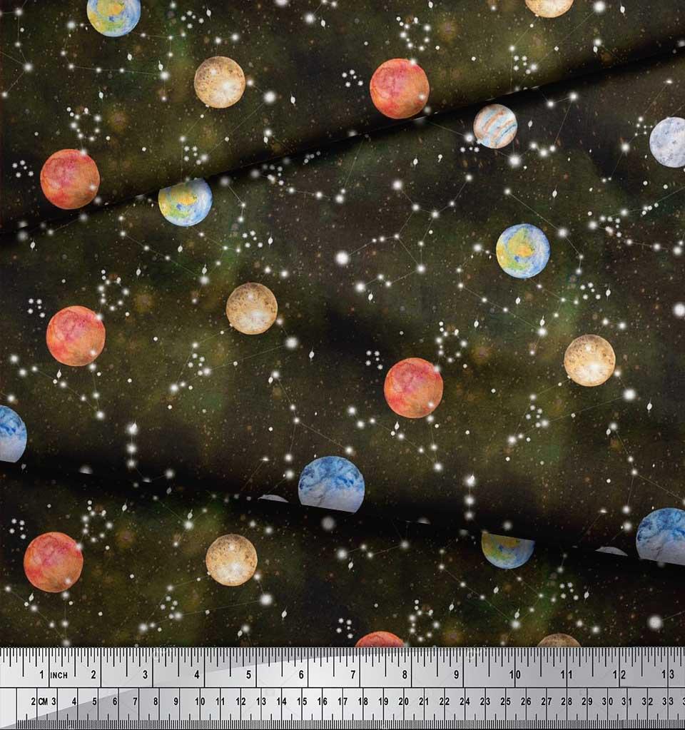 Soimoi-Cotton-Poplin-Fabric-Planet-Galaxy-Decor-Fabric-Printed-metre-FDn thumbnail 4