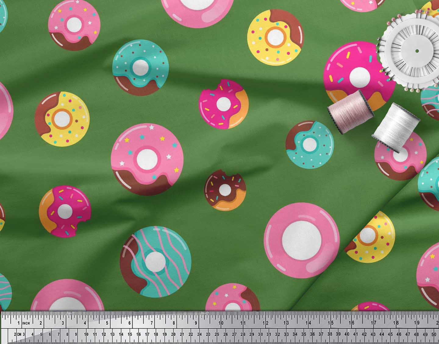 Soimoi-Green-Cotton-Poplin-Fabric-Donuts-Food-Printed-Fabric-1-metre-A7o thumbnail 3