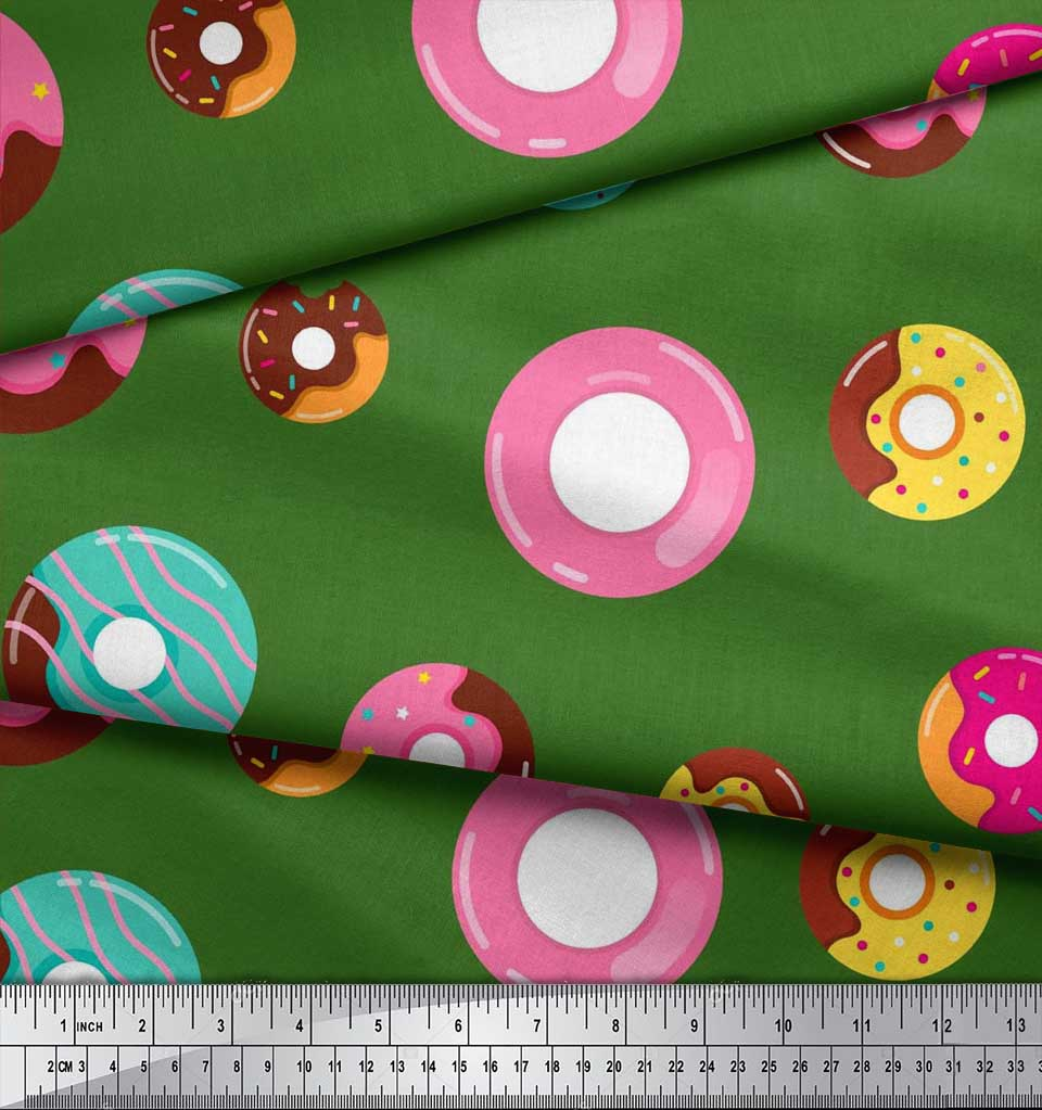 Soimoi-Green-Cotton-Poplin-Fabric-Donuts-Food-Printed-Fabric-1-metre-A7o thumbnail 4