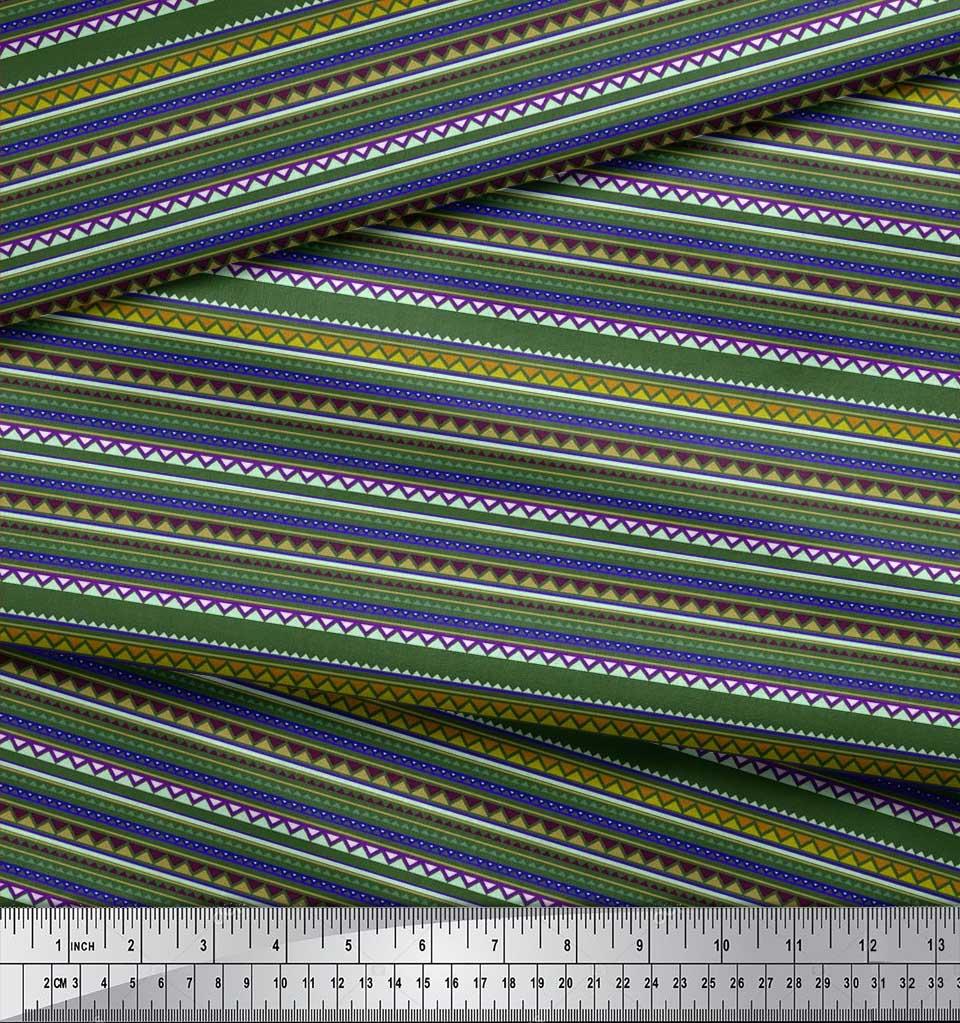 Soimoi-Cotton-Poplin-Fabric-Stripe-amp-Triangle-Geometric-Print-Sewing-5MV thumbnail 3
