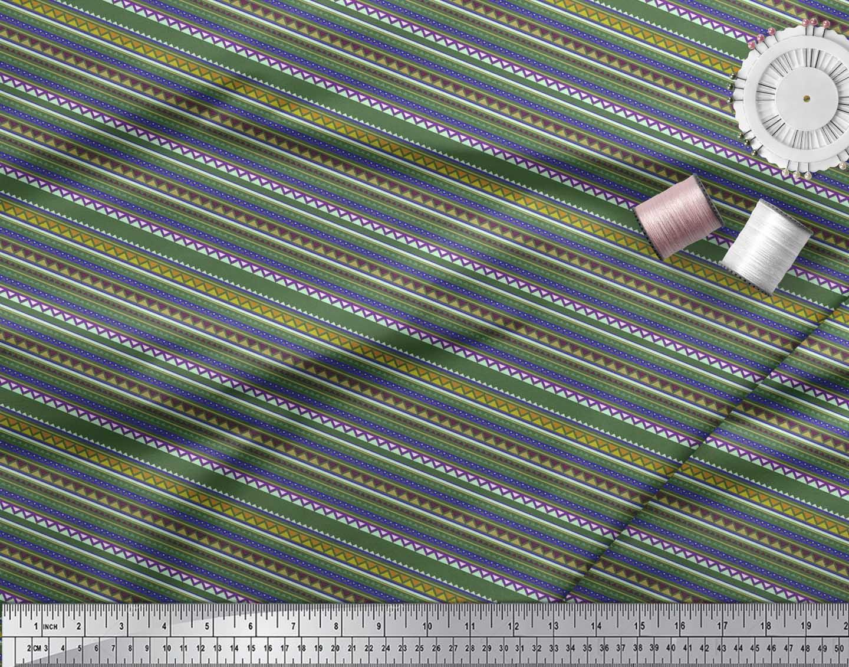 Soimoi-Cotton-Poplin-Fabric-Stripe-amp-Triangle-Geometric-Print-Sewing-5MV thumbnail 4