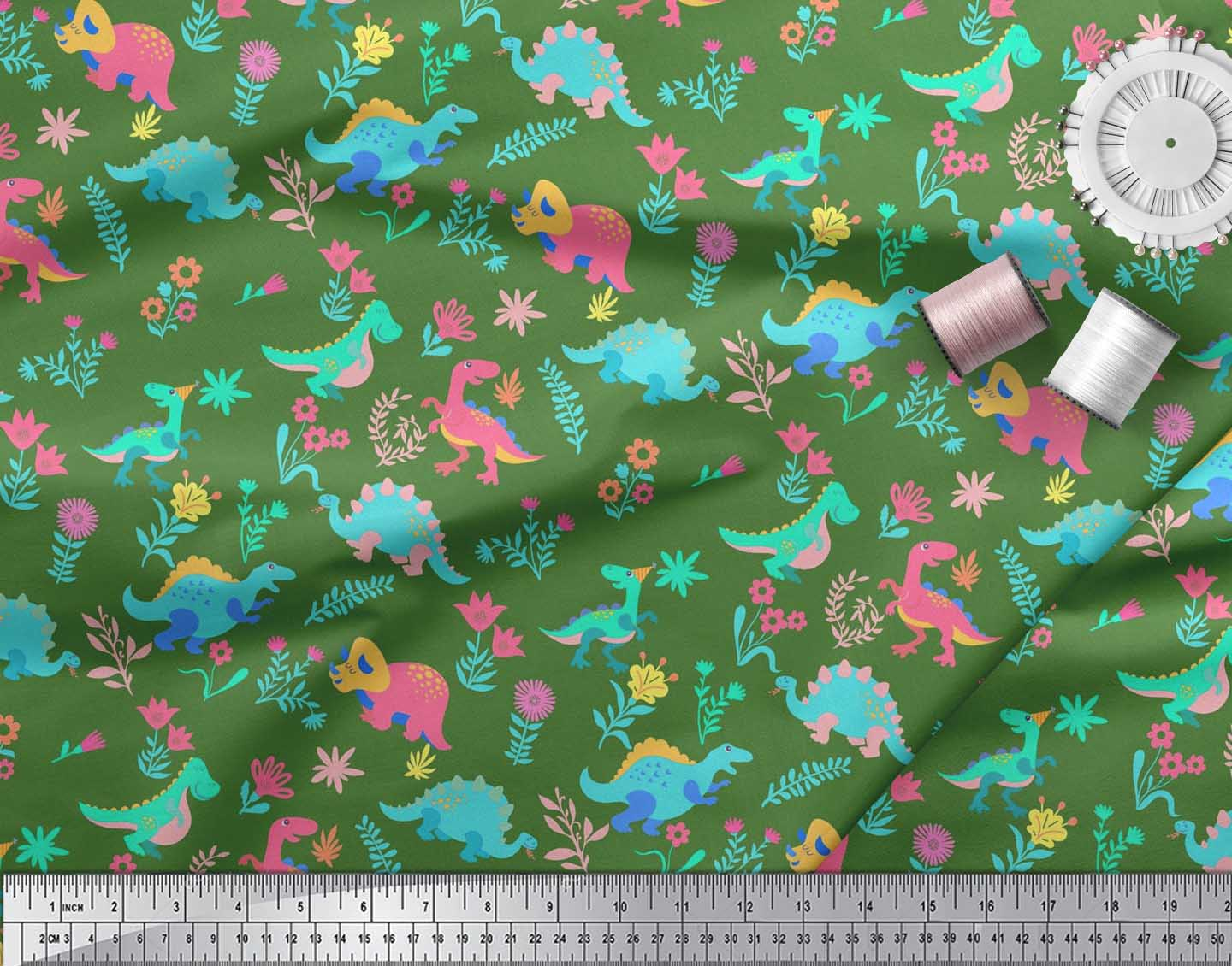 Soimoi-Green-Cotton-Poplin-Fabric-Aster-Flower-amp-Dinosaur-Kids-Print-Jut thumbnail 3