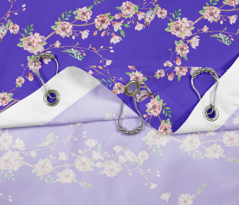 miniature 3 - S4Sassy Noir fleur et chardonneret oiseau rideaux de douche imprim?s-JpP