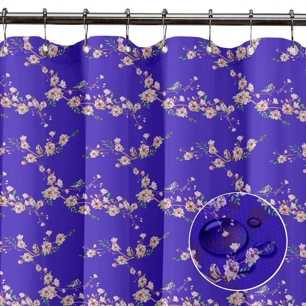 miniature 6 - S4Sassy Noir fleur et chardonneret oiseau rideaux de douche imprim?s-JpP