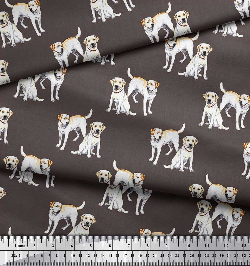 Soimoi-Cotton-Poplin-Fabric-Labrador-Dog-Decor-Fabric-Printed-metre-IQD thumbnail 3