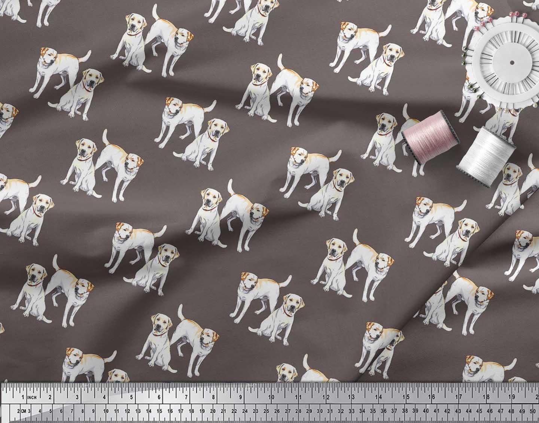 Soimoi-Cotton-Poplin-Fabric-Labrador-Dog-Decor-Fabric-Printed-metre-IQD thumbnail 4