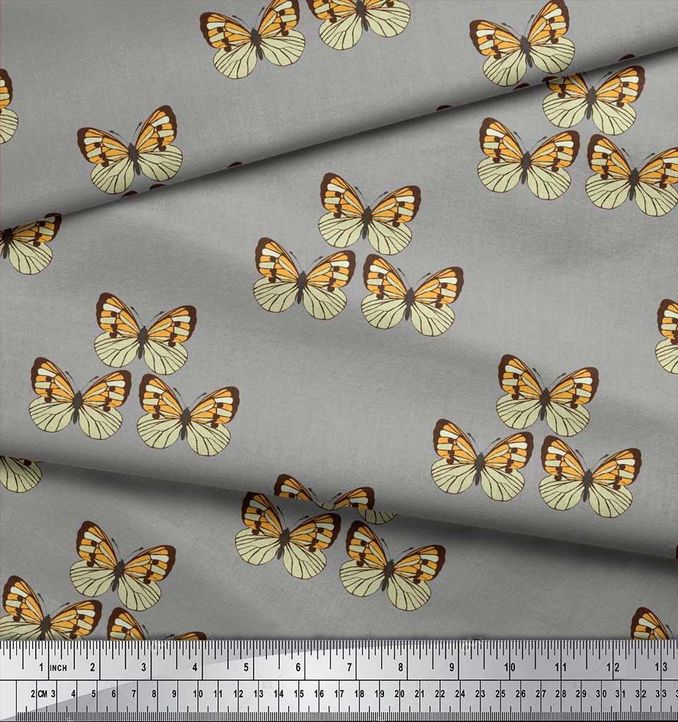 Soimoi-Cotton-Poplin-Fabric-Butterflies-Butterfly-Print-Sewing-Fabric-Hkx thumbnail 4