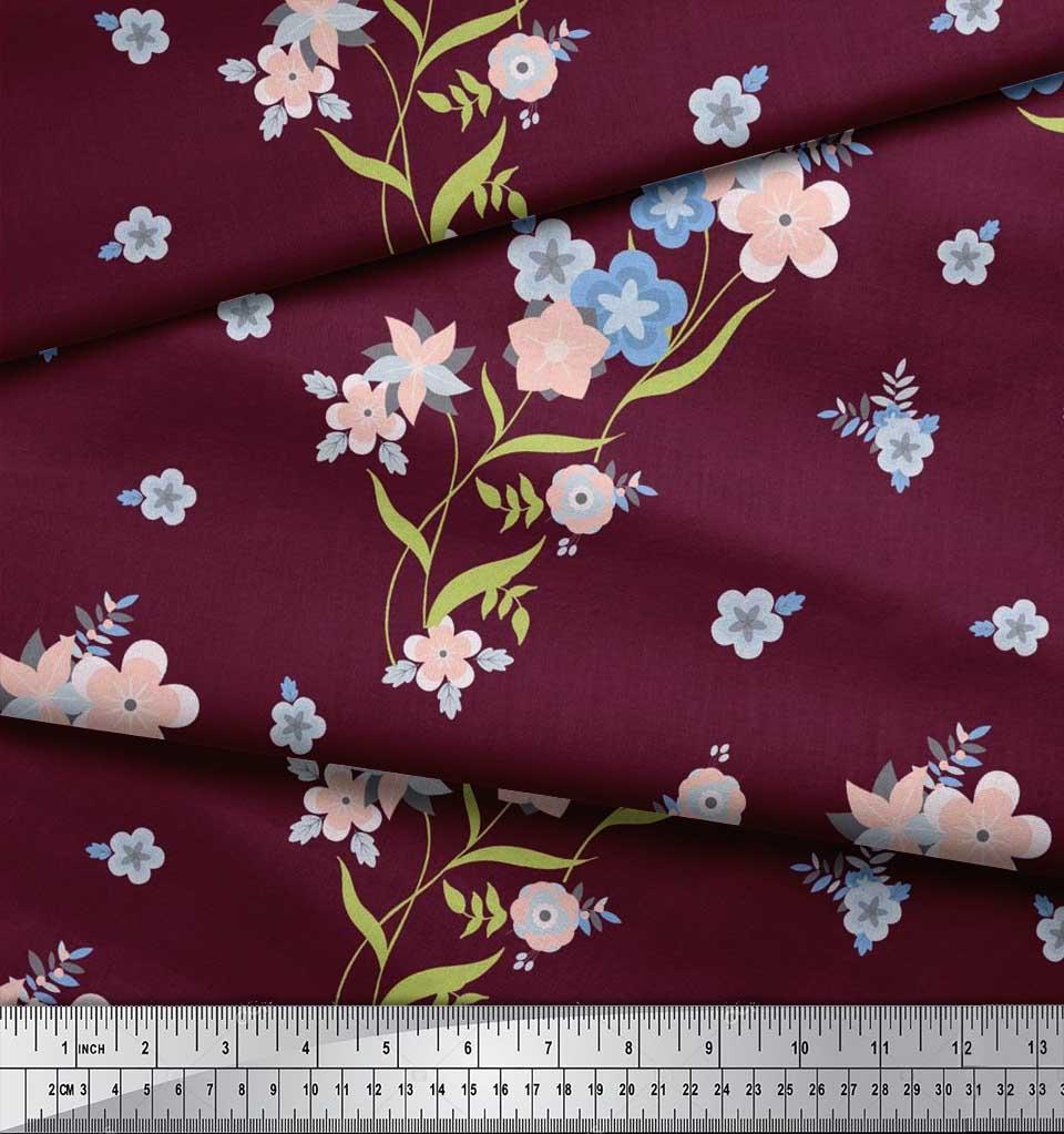 Soimoi-Cotton-Poplin-Fabric-Leaves-amp-Periwinkle-Floral-Print-Fabric-Kuz thumbnail 3