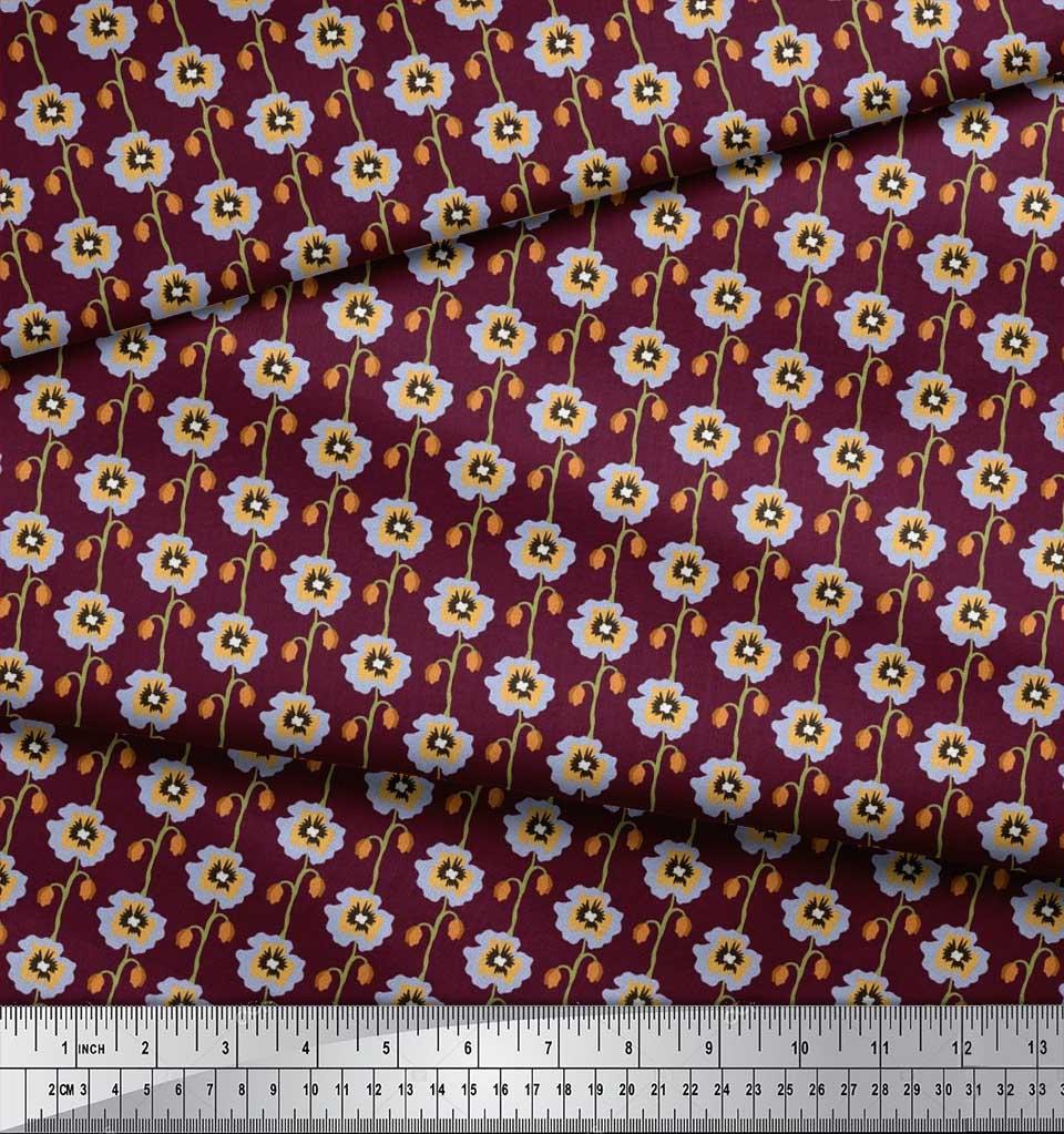 Soimoi-Cotton-Poplin-Fabric-Artistic-Floral-Decor-Fabric-Printed-7E5 thumbnail 4