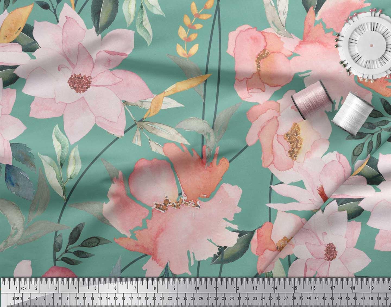 Soimoi-Blue-Cotton-Poplin-Fabric-Leaves-amp-Magnolia-Floral-Print-9Zl thumbnail 3