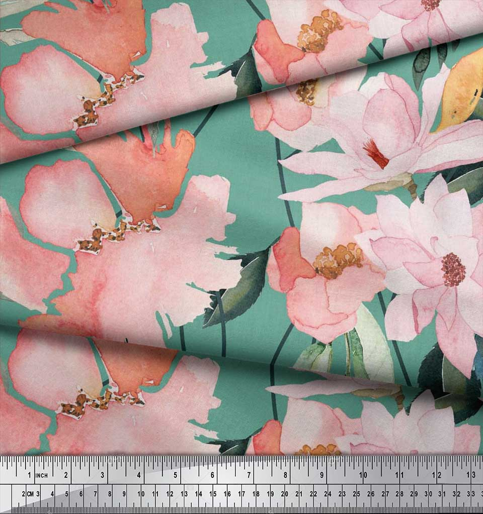 Soimoi-Blue-Cotton-Poplin-Fabric-Leaves-amp-Magnolia-Floral-Print-9Zl thumbnail 4